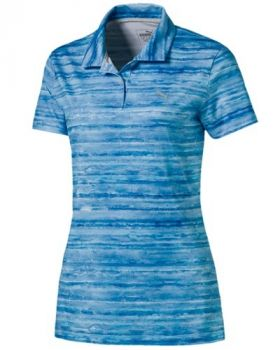 Puma Women's Watercolor Polo Golf Shirt - Nrgy Turquoise/Lapis blue