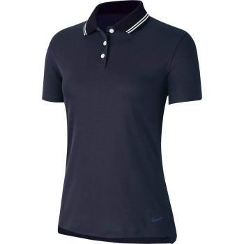 Nike Women's Dri-Fit Victory Short Sleeve Solid Golf Polo - College Navy/White
