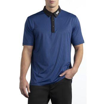 PXG Men's Collar Block Stripe Polo - Blue