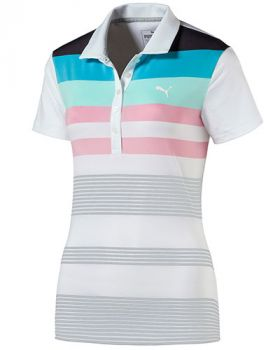 PUMA WOMEN'S ROAD MAP GOLF POLO - BRIGHT WHITE/ARUBA BLUE