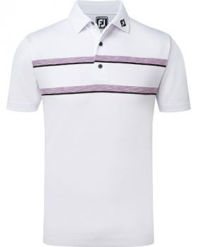 FOOTJOY PIQUE DOUBLE SPACE DYE CHEST STRIPE POLO - WHITE/VIOLET/BLACK