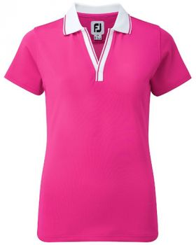 FOOTJOY WOMEN'S PIQUE OPEN V-NECK POLO SHIRT - BERRY/WHITE