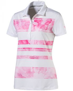 PUMA WOMEN'S BLOOM STRIPE GOLF POLO - SHOCKING PINK