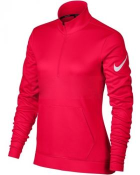 NIKE WOMEN'S THERMA HALF ZIP FLEECE GOLF TOP - SIREN RED