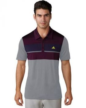 ADIDAS CLIMACOOL CHEST BLOCK POLO SHIRT - PURPLE/BLACK/RED NIGHT/NOBLE INK/VISTA GREY (Size XXL)