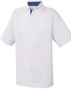 FootJoy Stretch Pique With Paisley Print Trim Polo - White
