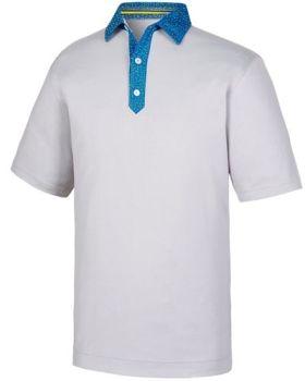 FootJoy Smooth Pique With Pin Dot Polo - White/Blue