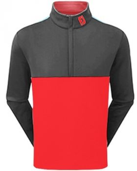 FootJoy Jersey Knit Colour Block Chill-Out Jacket - Red/ Charcoal/White