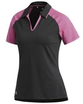 Adidas Women's Ultimate 365 Stripe Polo Shirt - Black/Magenta