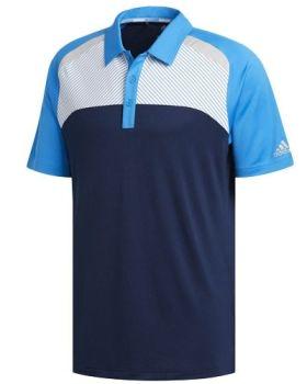 Adidas Colorblock Stripe Polo Shirt - Bright Blue