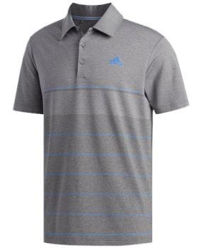 Adidas Ultimate365 Heathered Stripe Polo Shirt - Grey Five Htr/Grey Heathered/True Blue