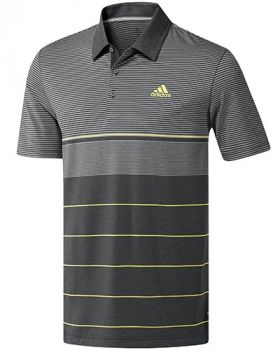 Adidas Ultimate365 Heathered Stripe Polo Shirt - Grey five htr/Hi-res yellow