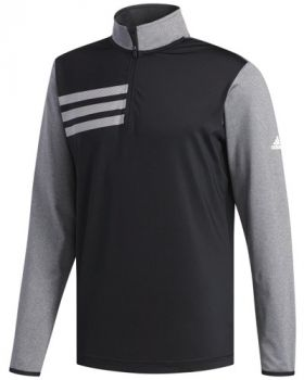 Adidas 3-Stripes Competition 1/4 Zip - Black Heather Black
