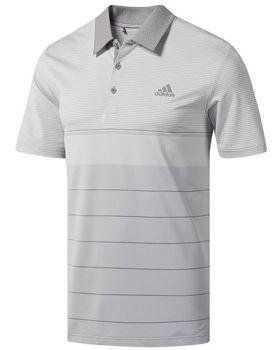 Adidas Ultimate365 Heather Stripe Polo Shirt - Grey