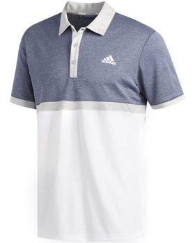 Adidas Drive Heather Colorblock Polo Shirt - Collegiate Navy Melange/ White/ Grey Two