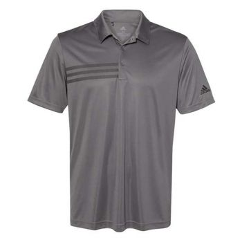 Adidas Men's 3 Stripe Chest Polo Shirt - Grey Five / Black