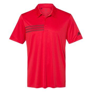 Adidas Men's 3 Stripe Chest Polo Shirt - Collegiate Red / Black
