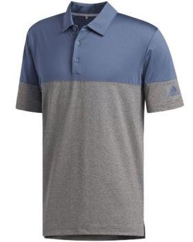 Adidas Ultimate365 Heathered Blocked Polo Shirt - Grey Heathered / Tech Ink