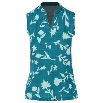 Nike Women's Breathe Floral Print Polo Shirt - Wind/Light Dew