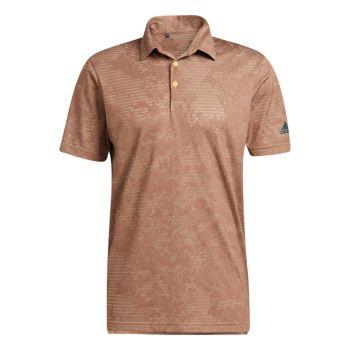 Adidas Men's Camo Polo Shirt - Wild Sepia / Acid Orange
