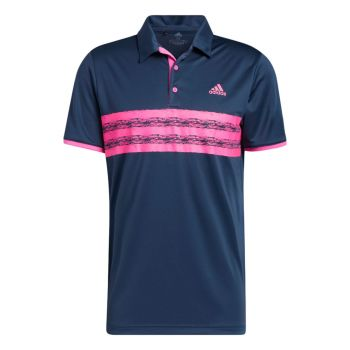 Adidas Men's Core Polo Shirt - Crew Navy / Screaming Pink