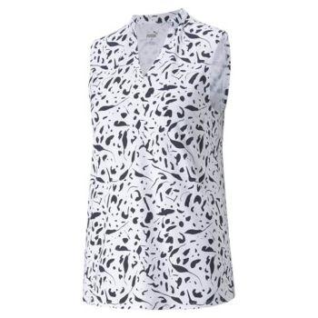 Puma Women's Cloudspun Chelsea Sleeveless Golf Polo - Bright White/Navy Blazer