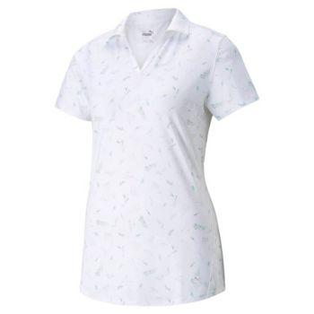 Puma Women's Mattr Greenery Golf Polo - Bright White