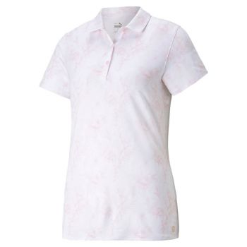 Puma Women's Cloudspun Tropical Golf Polo - Parfait Pink