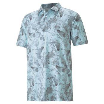 Puma Cloudspun Leaves Golf Polo - Corydalis Blue/Quiet Shade
