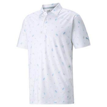 Puma Mattr Snack Shack Golf Polo - Bright White/Placid Blue