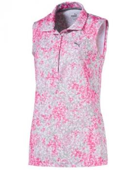 Puma Women's Floral Sleeveless Polo Shirt - Carmine Rose