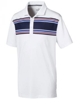 Puma Juniors Montauk Golf Polo - Bright White / Peacoat