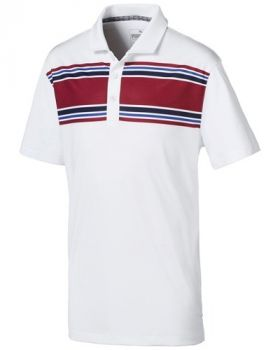 Puma Juniors Montauk Golf Polo - Bright White / Rhubarb