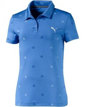 Puma Junior Girls Ditsy Golf Polo - Ultramarine