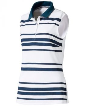 Puma Women's Sleeveless Stripe Golf Polo - Bright White / Gibraltar Sea