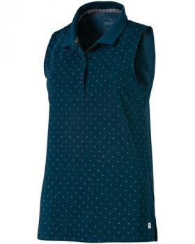 Puma Women's Sleeveless Polka Dot Golf Polo - Gibraltar Sea