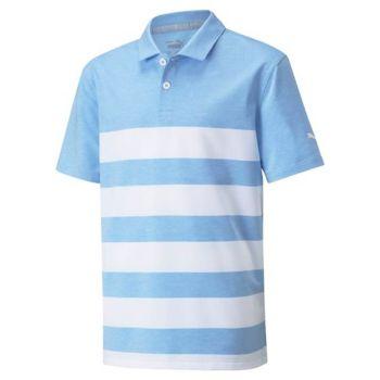 Puma Juniors Mattr Kiwi Stripe Golf Polo - Placid Blue/Bright White