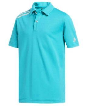 Adidas Junior 3 Stripe Polo Shirt - Hi-res Aqua