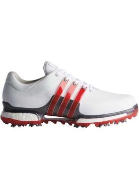 Adidas Tour 360 2.0 Golf Shoes - White/ Scarlet/ Dark Silver
