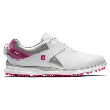 Footjoy Women's Pro/SL Boa Golf Shoes - White/Silver/Rose
