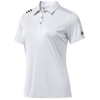 Adidas Women's A325 3-Stripes Shoulder Polo Shirt - White