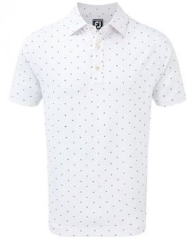 Footjoy Smooth Pique Square Print Polo - White