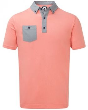 Footjoy Birdseye Jacquard Buttondown Collar Polo - Scarlet/Navy/ White