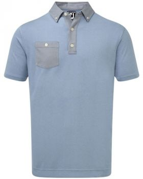 Footjoy Birdseye Jacquard Buttondown Collar Polo - Blue Marlin/Twilight