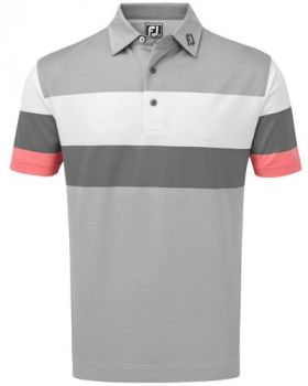 Footjoy Engineered Birdseye Pique Polo - Granite/White/ Watermelon