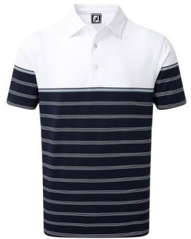 Footjoy Stretch Lisle Colour Block Stripe Polo - Navy/White