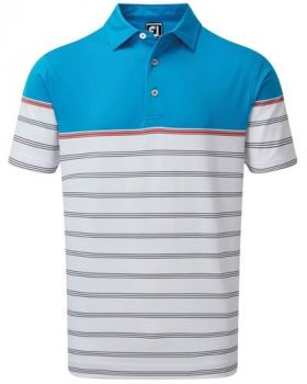Footjoy Stretch Lisle Colour Block Stripe Polo - White/Light Blue