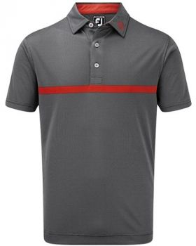 Footjoy Engineered Nailhead Jacquard Polo - Black/Scarlet