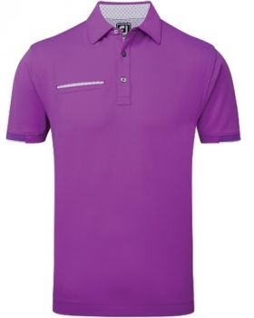 Footjoy Smooth Pique with Half Band Cuff Polo - Violet/White