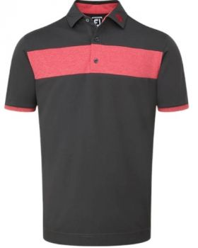 FootJoy Smooth Pique With Heather Pieced Stripe Polo Shirt - Charcoal/Red